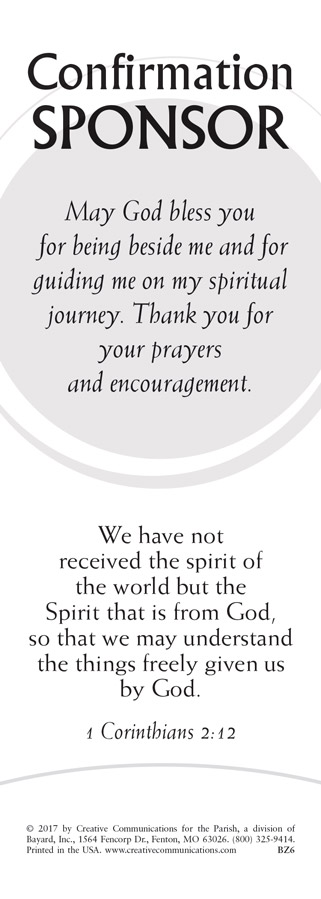 Confirmation Sponsor Bookmark - Jpg file