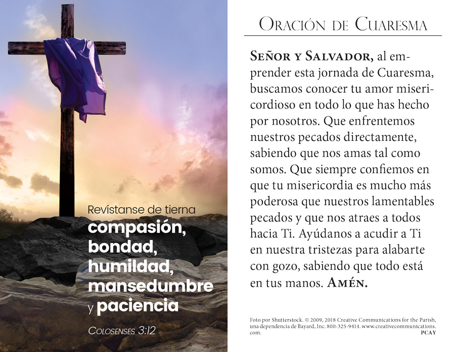 Lenten Prayer Card - Spanish - Jpg file