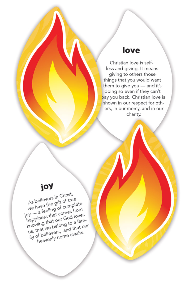(15 Sheets Of 9): Pentecost Flames - Fruit Of The Spirit - Jpg file