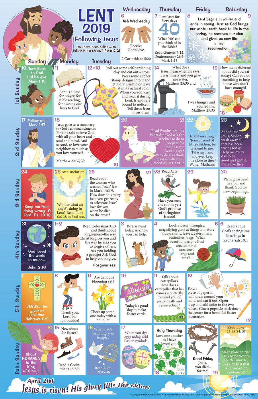 Lent 2019 Children's Calendar - Jpg file