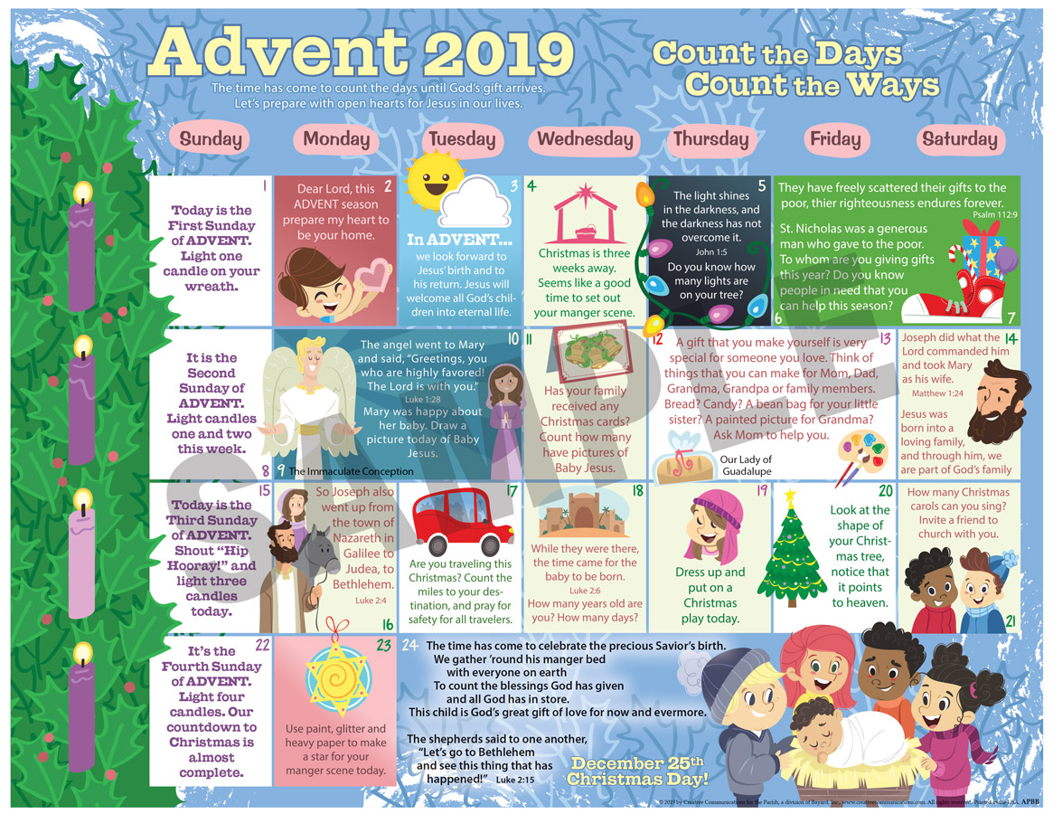 2019 ADVENT CHILDREN'S CALENDAR - CATHOLIC - Jpg file