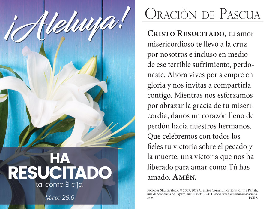 Easter Prayer Card - Spanish - Jpg file