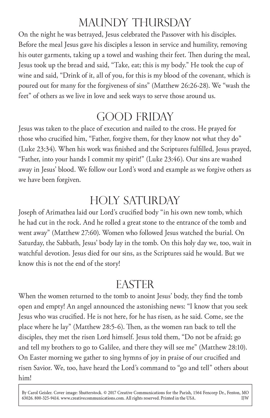 Holy Week Bulletin Insert - Jpg file