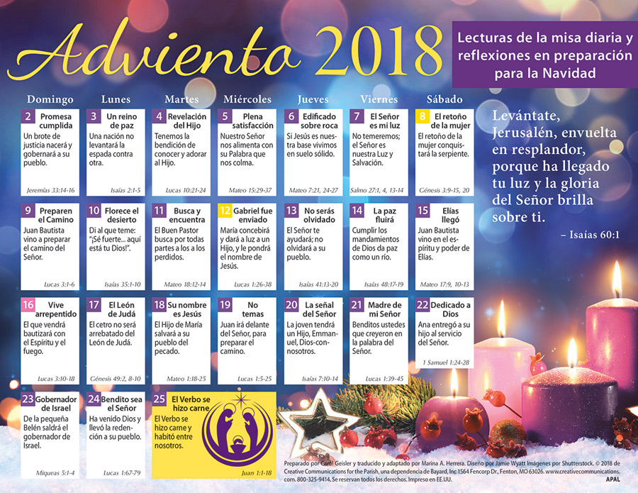 2018 Adult Advent Calendar Spanish - Jpg file
