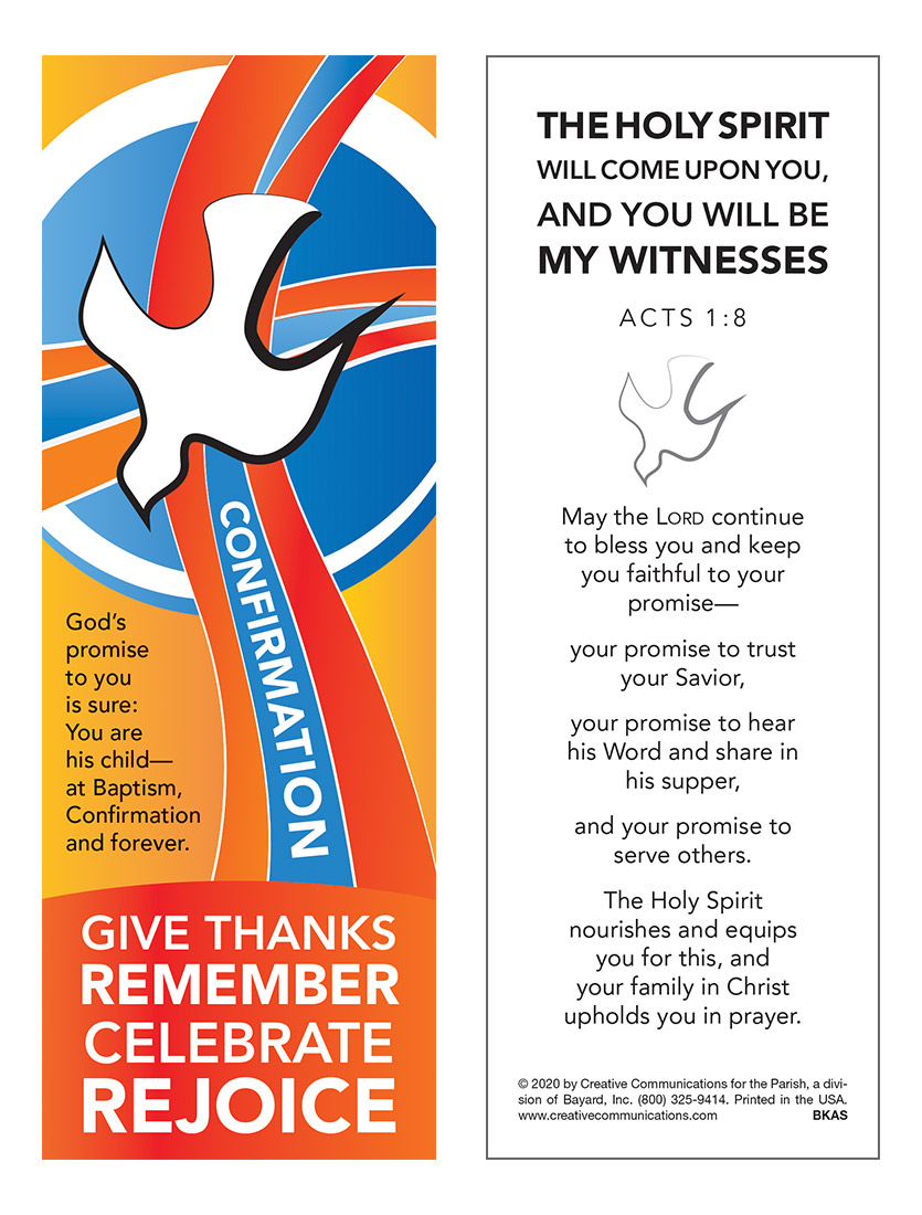 Confirmation Bookmark - Jpg file